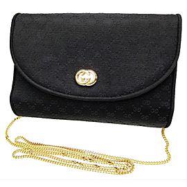 Gucci Micro Gg Chain Flap 234295 Black Satin Shoulder Bag