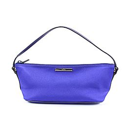 Gucci Blue-Purple Satin Baguette Pouch Wristlet Mini Bag 15ggs1229