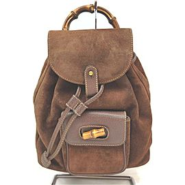 Gucci Brown Suede Mini Bamboo Backpack 863126