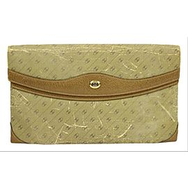 Gucci Monogram Mini Logo Diamante Ggtl177 Beige Canvas/ Leaher Clutch