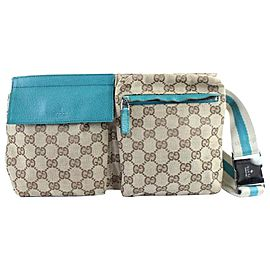 Gucci Bumbag Monogram Teal Belt Pouch 228544 Torquoise Coated Canvas Cross Body Bag