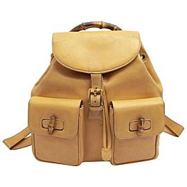 Gucci Mustard Tan Bamboo Double Pocket 231457 Brown Leather Backpack