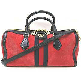 Gucci Red Suede Ophidia Top Handle Boston Duffle Bag with Strap 863134