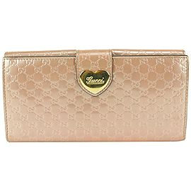 Gucci Rose Pink Patent Guccissima Heart Continental Long Flap Wallet 825gk65