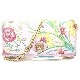 Gucci Purple Flora Wallet on Chain Crossbody Flap Bag 862994