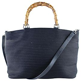 Gucci Bag Quilted Bamboo with Strap 5g615 Black Canvas Tote