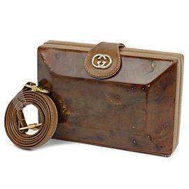 Gucci (Rare) Wooden Minaudiere 2way 230186 Brown Wood Cross Body Bag
