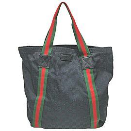 Gucci Sherry Black Monogram GG Web Shopper Tote 863211