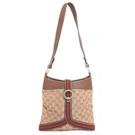 Gucci Bucket Hobo Sherry Monogram Web 228827 Brown Canvas Shoulder Bag
