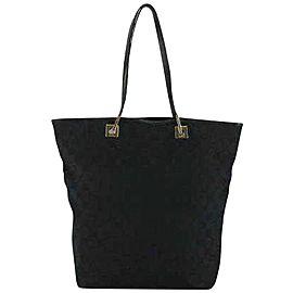 Gucci Signature Monogram Shopper Tote 230795 Black Canvas Shoulder Bag