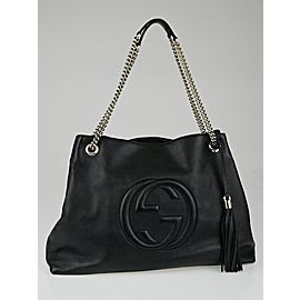 Gucci Soho Chain 6g82 Black Pebbles Leather Tote