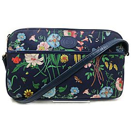 Gucci Soho Disco Floral Monogram Gg Camera 872414 Navy Blue Canvas Cross Body Bag