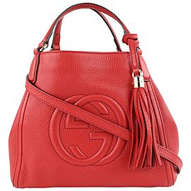 Gucci Fringe Tassel Red Leather Soho Hand Bag Tote 2way Convertible 712gk622