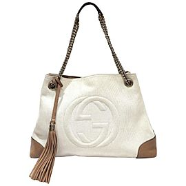 Gucci Ultra Rare Bicolor Fringe Tassel Soho Chain Tote 855177