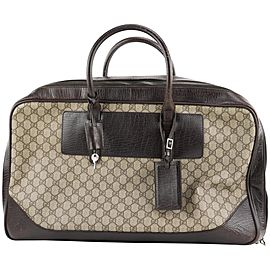 Gucci Brown Supreme GG Suitcase Luggage 258ggs216