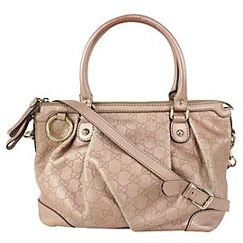 Gucci Pink Leather Guccissima Medium Sukey Top Handle 2way Bag 1GU811