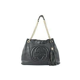 Gucci Fringe Tassel Black Leather Soho Chain Tote Bag 722gks323