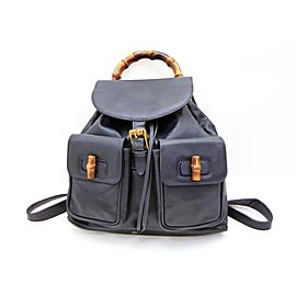 Gucci Bamboo Twin Pocket 234319 Navy Blue Leather Backpack