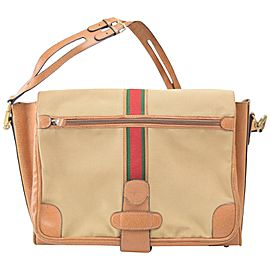 Gucci Messenger (Ultra Rare) Vintage Web 867947 Brown Canvas Shoulder Bag