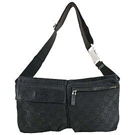 Gucci Black Monogram GG Belt Bag Fanny Pack Waist Bag 494ggs67