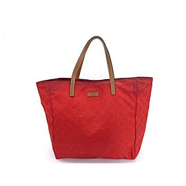 Gucci Emobssed Monogram 222844 Red Canvas Tote
