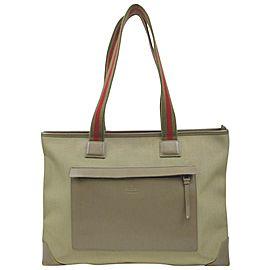 Gucci Web Handle Olive Pocket Tote 862791
