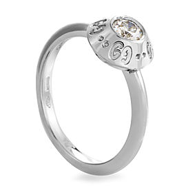 Gucci Icon Platinum .22ct Diamond Solitaire Engagement Ring Size 5.5