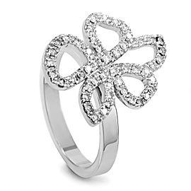 Gucci 18K White Gold Movable Diamond Flower Ring Size 5.0 & 5.75