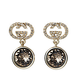 Gucci Gold-Tone Brass & Swarovski Crystal GG Logo Drop Earrings