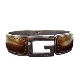 Gucci Silver Tone Hardware and Enamel Bangle Bracelet