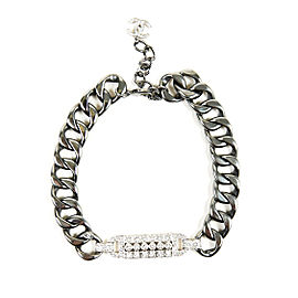 Chanel Cruise Silver Tone Gunmetal Crystal CC Collar Necklace