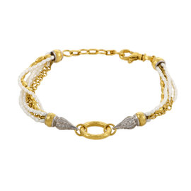 Gurhan Sultan 24K Yellow Gold and 18K White Gold 0.46ct. Diamond and Pearl Bracelet