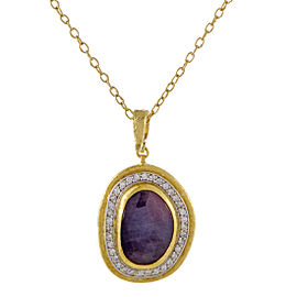 Gurhan Elements 24K and 22K Yellow Gold 0.75ct. Diamond and 11.25ct. Pink Sapphire Pendant Necklace