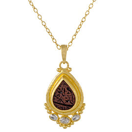 Gurhan 24K and 22K Yellow Gold 0.60ct. Diamond and Arabic Intaglio Amulet Pendant Necklace