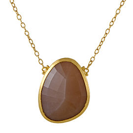 Gurhan Elements 24K and 22K Yellow Gold Brown Moonstone Pendant Necklace