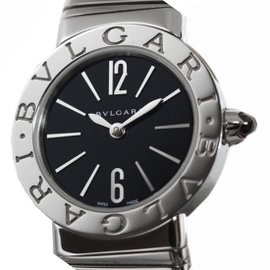 Bulgari TuboGas Bbl 262ts Stainless Steel Quartz Black 26mm Bangle Womens Wrist Watch