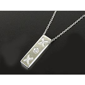 Tiffany & Co. Paloma Picasso 925 Sterling Silver with Diamond Bar Plate Chain Necklace