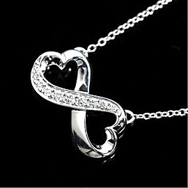 Tiffany & Co. Paloma Picasso 18K White Gold with Diamond Double Loving Heart Pendant Necklace