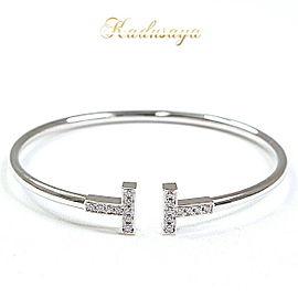Tiffany & Co. 18K White Gold with Diamond T Wire Bracelet