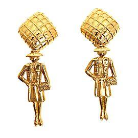 Chanel Mademoiselle Gold Tone Metal Vintage Earrings