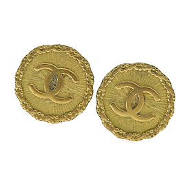 Chanel Coco Mark Gold Tone Metal Vintage Earrings