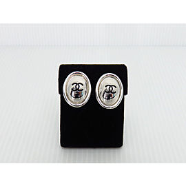 Chanel Coco Silver Tone Metal Clip Earrings
