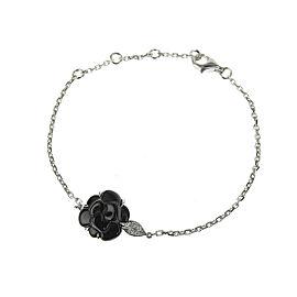 Chanel 18K White Gold Onyx, Diamond Bracelet