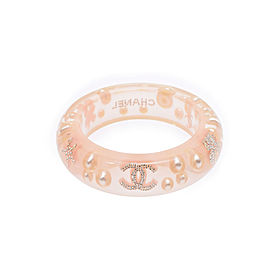 Chanel Clear Glass Simulated Pearl Rhinestone Bracelet