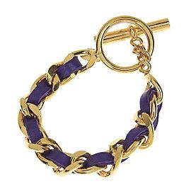 Chanel Gold Tone Metal Chain Purple Leather Bracelet