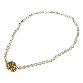 Chanel Coco Mark Gold Tone Metal Glass Simulated Pearl Vintage Necklace