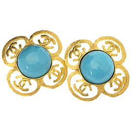 Chanel Blue Coco Mark Gold Tone Metal Vintage Earrings
