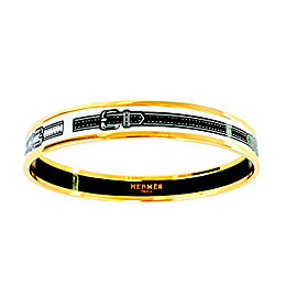 Hermes White Black Narrow Gold Printed Enamel Bracelet