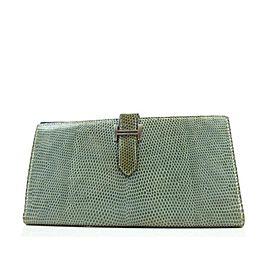 Hermès Blue-green Constance Lizard Bearn Gusset Long Bifold Flap H Logo 239718 Wallet