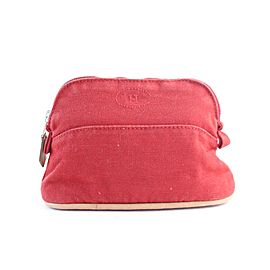 Hermès Cosmetic Pouch Bolide 28hr0702 Red Cotton Clutch